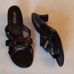 Paul Green black patent leather sandals-sz 5 1/2